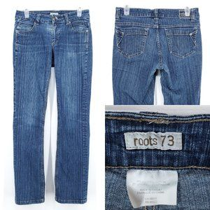 ROOTS Jeans Straight Leg Mid Rise Striped Denim